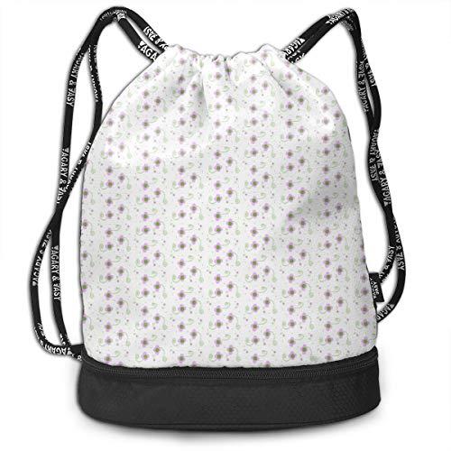 (Polka Dot Petals Pink Drawstring Backpack Sports Athletic Gym Cinch Sack String Storage Bags for Hiking Travel Beach)