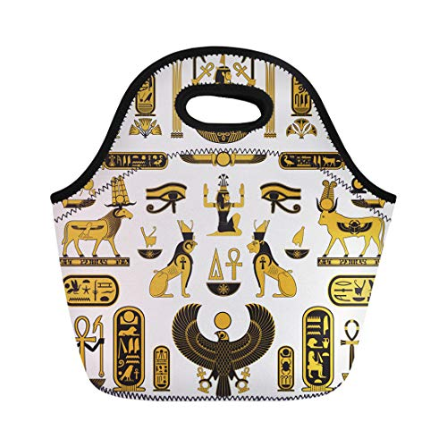 Semtomn Lunch Tote Bag Egypt Ancient Egyptian Symbols Pharaoh Pyramid Horus Falcon Ankh Reusable Neoprene Insulated Thermal Outdoor Picnic Lunchbox for Men Women