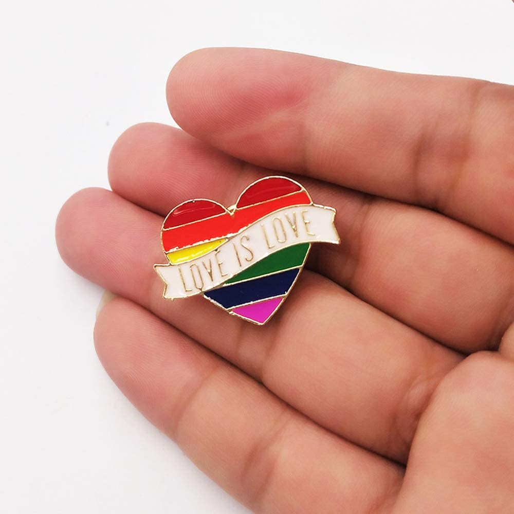 Pride Pin LGBT Gay Rainbow Heart Flag Enamel Lapel Pin Decoration for Clothes and Bags 6Pcs//Set