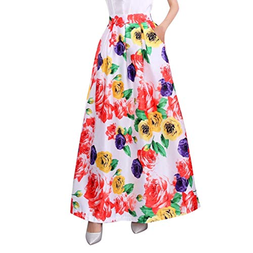SSYongxia ♪ Women's Spring and Summer Printed Casual Skirt Retro Large Swing Skirt Ladies Long Maxi Skirt Yellow ()