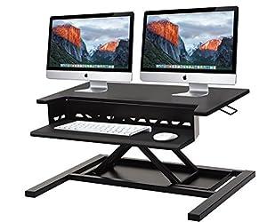 Standing Desk Converter-INNOVADESK 32-22-Basics Height Adjustable Desk-Sit Stand Desk Converter Workstation-Sit Stand Riser –The Best Adjustable Standing Desktop- Keyboard Tray-Desk Assembly (Black)