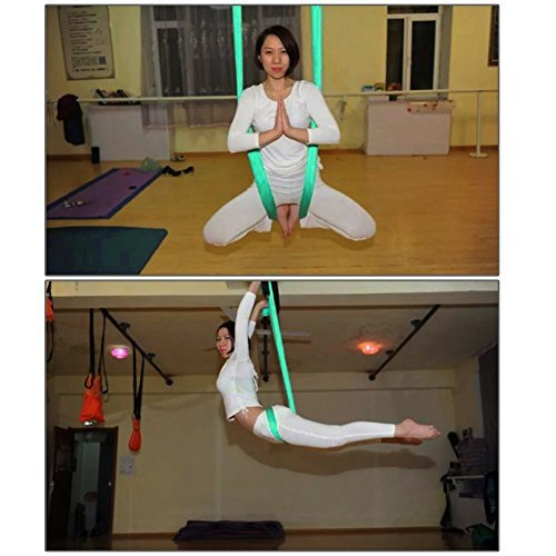 Pellor 5M Yoga Air Flying Inversion Hammock Aerial Yoga Hammock Swing Belt (Green)