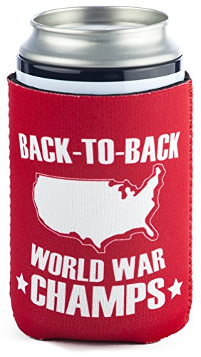 (Funny Guy Mugs Back-To-Back World War Champs Collapsible Neoprene Can Coolie - Drink Cooler)