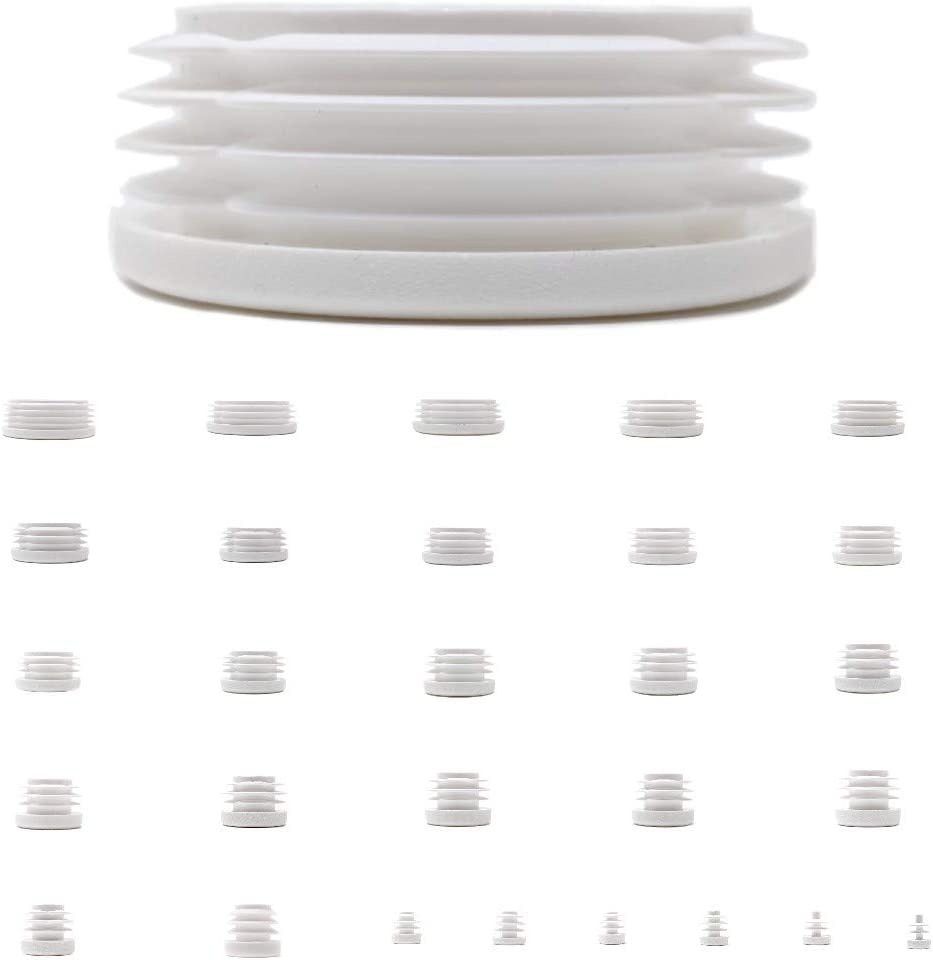 Ribbed Inserts for Round Tubes White,20mm Diameter - See Second Image Before You Order This Size, Pack of 8 Made in Germany Plastic End Caps