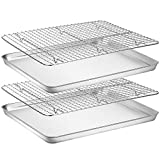 Baking Sheet with Rack Set [2 Pans + 2 Racks], Wildone Stainless Steel Cookie Sheet Baking Pan Tray with Cooling Rack, Size 16 x 12 x 1 Inch, Non Toxic & Heavy Duty & Easy Clean (Color: Silver, Tamaño: 16 x 12 x 1 inch)