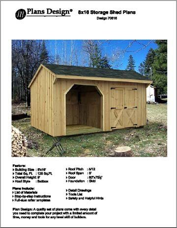 8u0027 X 16u0027 Firewood Storage Shed Project Plans  Design #70816