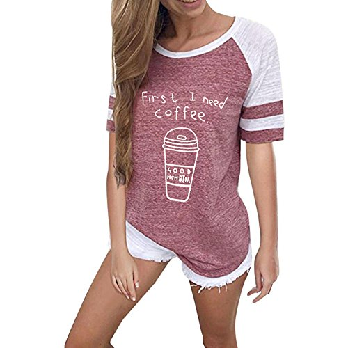 Sunmoot Clearance Sale Letter Print T-Shirt for Womens Ladies Summer Casual Color Block Splice Short Sleeve Loose Patchwork Tunic Blouse Top D-red