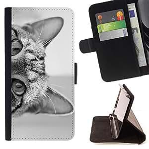 - cat eyes black white kitten cute pet - - Prima caja de la PU billetera de cuero con ranuras para tarjetas, efectivo desmontable correa para l Funny HouseFOR HTC One M8