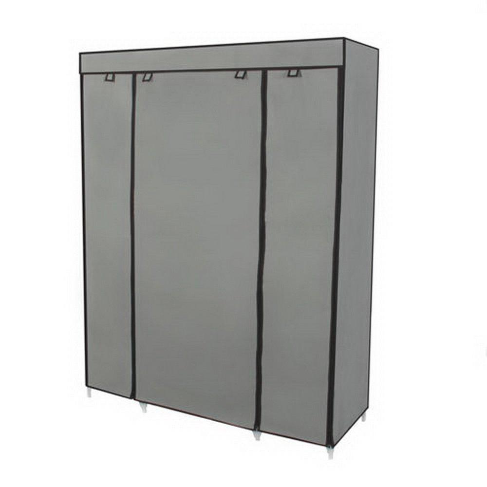 Portable wardrobe on wheels - Amazon Com Best Choice Products 53 Portable Closet Storage Organizer Wardrobe Clothes Rack With Shelves Blue Home Kitchen