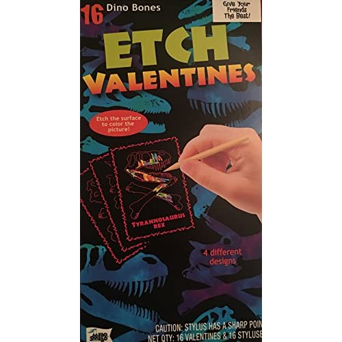 16 Dino Bones Etch Valentines supplier