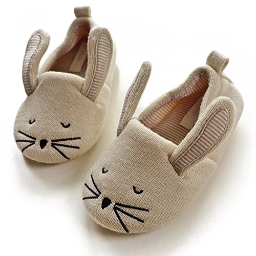 Halluci Kids' Cute Mouse Cotton Memory Foam House Slippers w/Long Ear (8 M US Toddler, Beige)