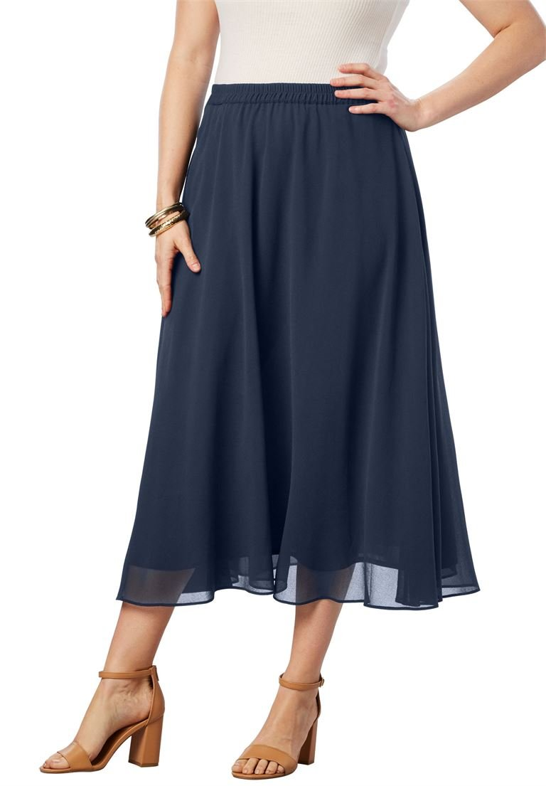Roamans Women's Plus Size Long Georgette Skirt