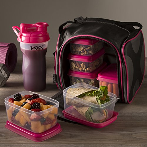Fit & Fresh Original Jaxx FitPak Insulated Meal Prep Bag with Portion Control Containers, Ice Pack and 28-ounce JAXX Shaker Bottle, Pink