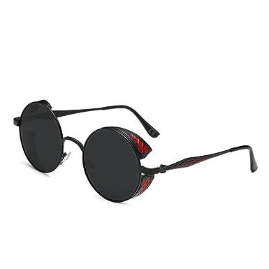 69455f55274 AMZTM Retro Gothic Steampunk HD Polarized Sunglasses for Women Men Vintage  Metal Round Circle Frame Mirrored