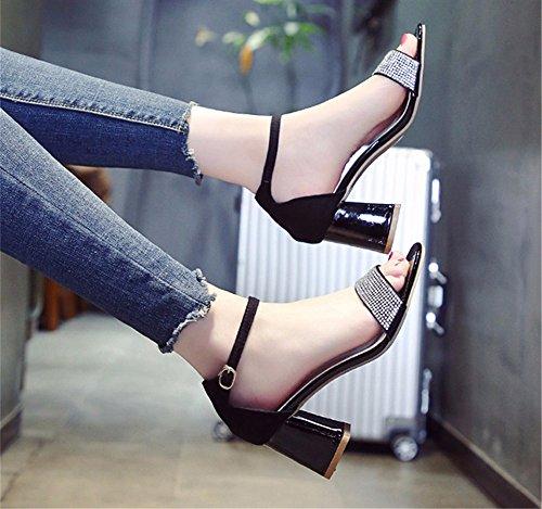 Talones y en Las Puntera de Tobillos Sandalias Dedos b los YMFIE con Zapatos los Talones Damas pies wvTfqntY