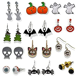 Spooky Fun Unisex Halloween Earrings Bundle for Pierced Ears (12 Pairs)