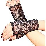 LUOEM Women Lace Fingerless Gloves Half Finger Bridal Gloves UV Protection Fingerless Gloves Sunproof Gloves (Black)
