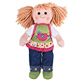 Bigjigs Toys Sophia 34cm Soft Doll in Denim Jeans with Apron - Rag Doll for Children