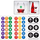 Wine Glass Marker Sticker Charms for Wine Tastings and Wine Parties (great for stemless wine glasses)