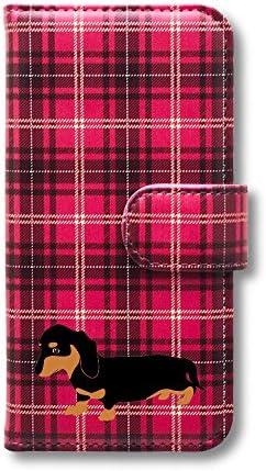ダックスフンド スマホケース iPhone 手帳型カバー チェック(赤) iPhone11Pro Fave フェイブ f0131B040A-6514 ミニチュアダックス カニヘンダックス 犬 ペット スマホカバー スマートフォン 携帯 スマホ ブック型