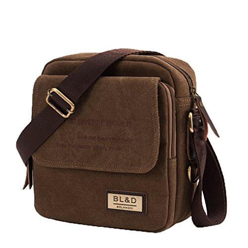 Bld Bag - JustsoLe Men's Small Vintage Multipurpose Canvas Shoulder Bag Messenger Bag Purse-Brown