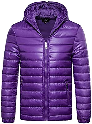 WSPLYSPJY Mens Packable Puffer Jacket Lightweight Quilted Jacket Coats Dark Blue M