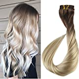 Full Shine 18' 7 Pcs 120 Gram Color 6B Fading to 613 Blonde Balayage Extensions of Remy Human Hair Clip in Extensions Human Real Hair Clip in Extensions