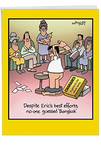 Supersized Birthday Note Card With Envelope 8.5 x 11 Inch - Funny 'Bangkok' Happy Appreciation Card - Half Naked Man Plays Charades By Banging His D--k - Happy Birthday Greeting Card J8300