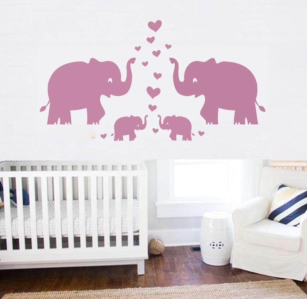 Large Cute Elephant Family With Hearts Wall Decals Baby Nursery Decor Kids Room Wall Stickers