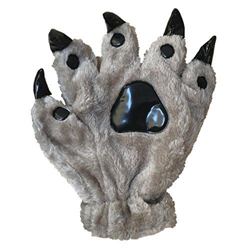 Child Grey Gloves (Unisex Bear Plush Paw Claw Gloves Soft Winter Mittens Grey S)