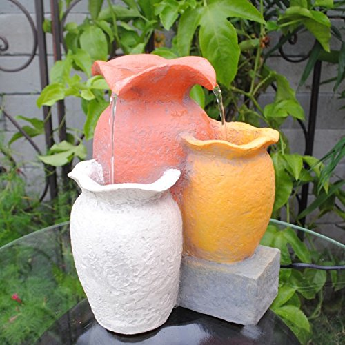 Multi Colorful Pots Tabletop Indoor Fountain by Feng Shui Import