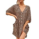 Baby Cot and Dresser Front on Dresses for Women,SMALLE◕‿◕ Women Summer V Neck Leopard Swing Dresses Casual Short Tunic Beach Mini Dress Brown