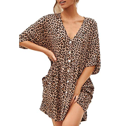 Sexy Womens Fashion Ladies Open Leopard Splice Print Button Casual Dress ()