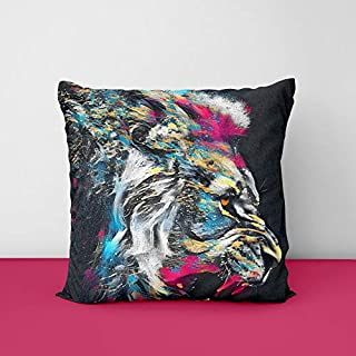 51wCLvMKZNL. SS320 Colour Full Lion Square Design Printed Cushion Cover