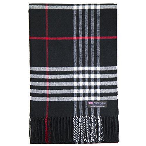 2 PLY 100% Cashmere Scarf Tartan OS Big Check Plaid Made in Scotland Wool Wrap Muffler (Black Red White GC) ()
