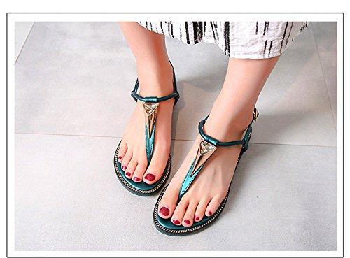 sandali ShangYi scarpe da selvagge romane T studente clip fibbia tacco di con toe verde scarpe piatto estivi dimensioni scarpe donna grandi rqrOt6nxZ