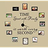 """Newsee Decals Time Spent with Family Is Worth Every Second #3, Wall Decal Home Decor 6"""" X 17"""" and 4"""" X 17"""