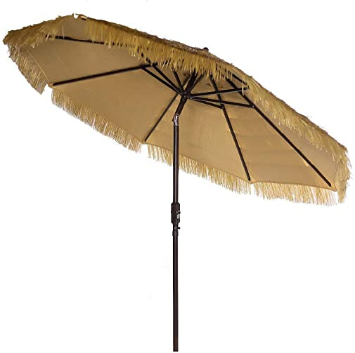 9 Feet Patio Umbrella Market Outdoor Table Umbrella with Auto Tilt and Crank Tiki Umbrella 9 Cranking Lift Tiki Thatched Hula Outdoor Patio Umbrella Natural Color 9 Crank Tilt, Tiki Natural