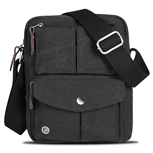 064e9cd3c1 Catmacas Small Vintage Durable Multi-pocket Canvas Shoulder Ipad Messenger  Bag Satchel Crossbody Sling Bag