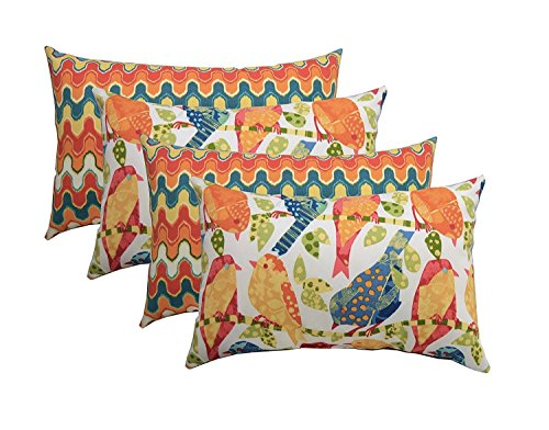 Set of 4 Indoor Outdoor Decorative Lumbar Rectangle Pillows – 2 Ash Hill Orange Blue Yellow Garden Birds 2 Flame Stitch