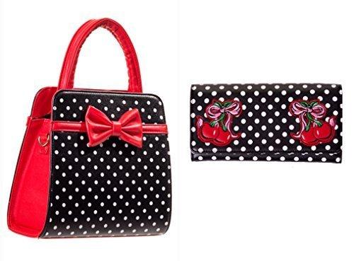 Handbag Wallet amp; VTG Polka 50s Set Black Cherry Banned Red Dot Rockabilly Bow Zfq0wS6zx