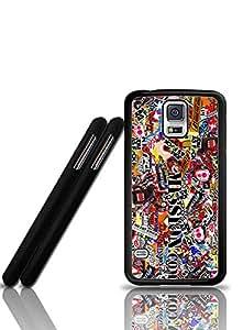 Samsung S5 I9600 Funda Case Sticker Bomb - Wonderful Pattern Design Rugged Anti Slip Samsung Galaxy S5 I9600 Back Funda Case Cover For Guys - By Riolve