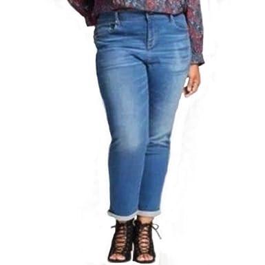 558019ce35a49 Ava & Viv Women's Plus Size Straight Jean Power Stretch - Medium Denim Blue  - (