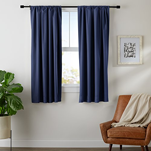 AmazonBasics Room Darkening Thermal Insulating Blackout Curtain Set with Tie Backs - 52 x 63 Inches, Navy (2 Panels)