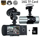 "Car Vehicle Camera,Rongyuxuan 2.7"" HD 1080P Dual Lens Dash Cam GPS Vehicle Dashboard Camera Synchronous DVR Recorder for Whole Driving Track Recorder(16G TF Card Included)"