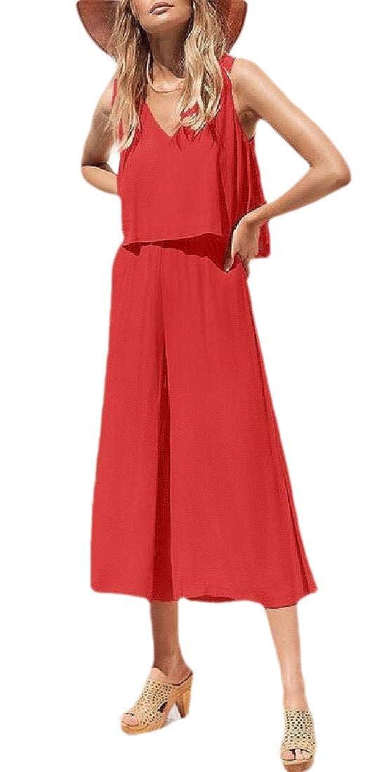 GAGA Womens Bohemian Boho Loose V-Neck Solid Color Long Jumpsuits