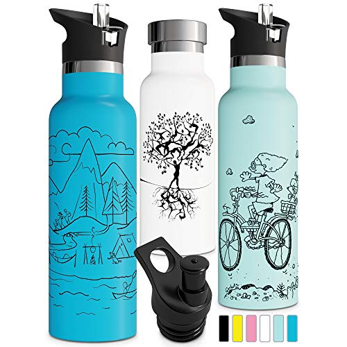 Water Aluminum (Insulated Water Bottle with Straw Double Walled Stainless Steel Vacuum Thermos Eco Friendly Sweat Proof Powder Durable Finish BPA Free Eco Friendly Tree of Life Push Pull Sports Cap (20oz, White))
