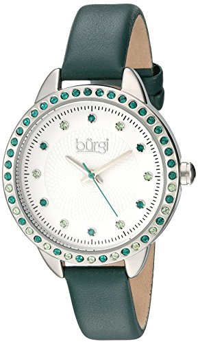 Bezel Silver White Leather (Burgi Women's Genuine Swarovski Crystal Accented White Dial and Silver-Tone Bezel with Green Genuine Leather Strap Watch BUR161GN)