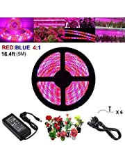 LED Plant Grow Strip Light with Power Adapter,Full Spectrum SMD 5050 Red Blue 4:1 Rope Light for Aquarium Greenhouse Hydroponic Pant Garden Flowers Veg Grow Light (5M)