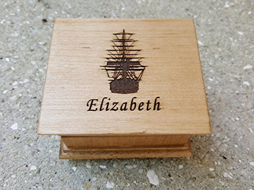 Davy Jones music box, Custom engraved wooden music box with a pirate ship and your name engraved on top, with your choice of color and song, personalizing available, Davy Jones Theme music box
